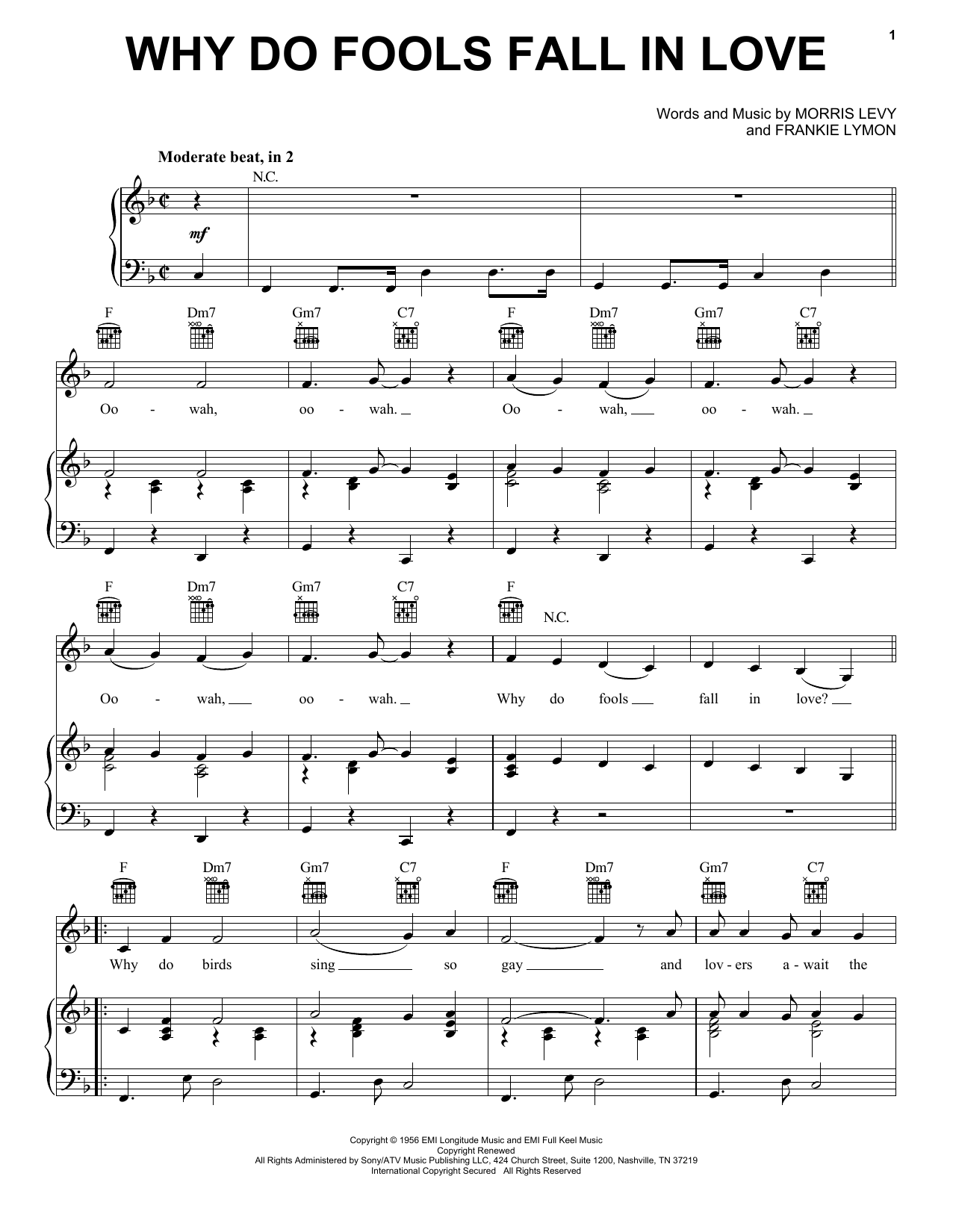 Why Do Fools Fall In Love sheet music