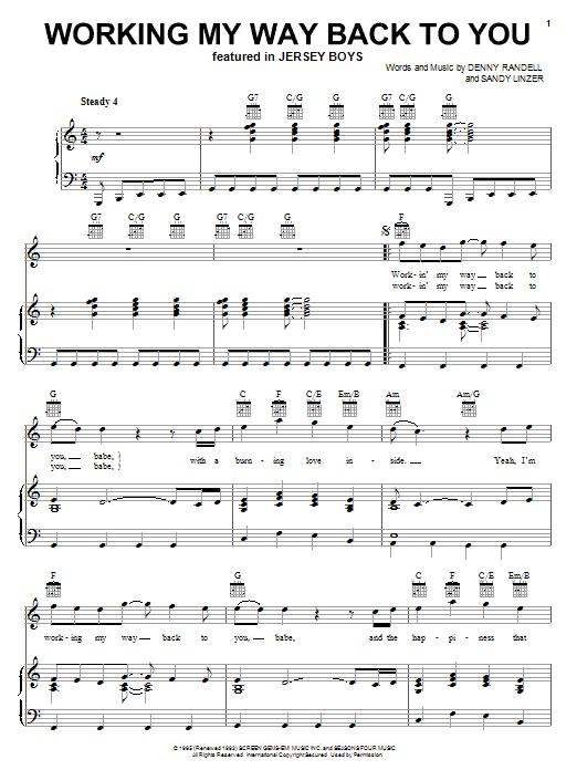 Working My Way Back To You sheet music