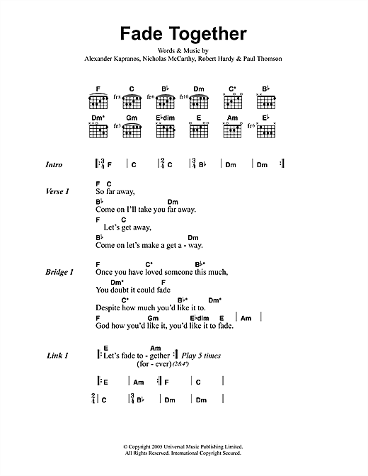 Fade Together sheet music
