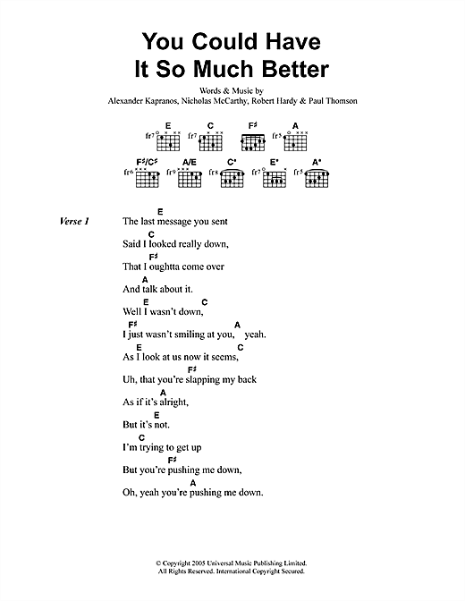 You Could Have It So Much Better sheet music
