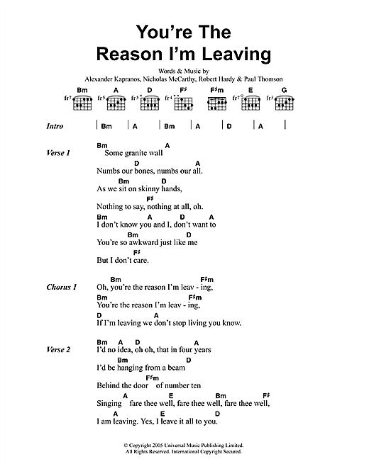 You're The Reason I'm Leaving sheet music