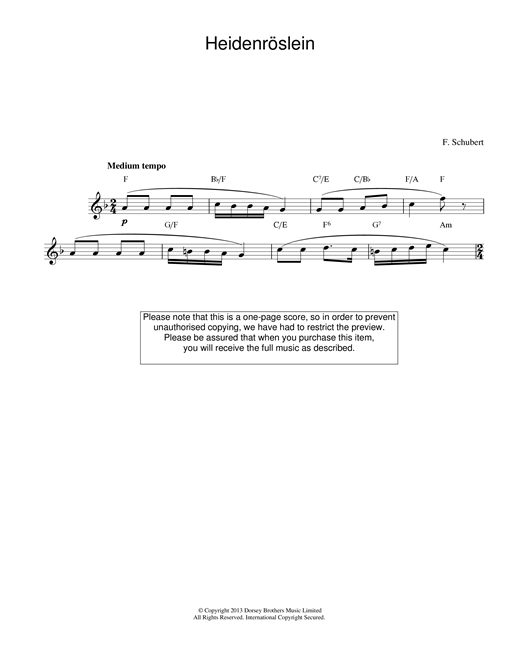 Heidenroslein sheet music
