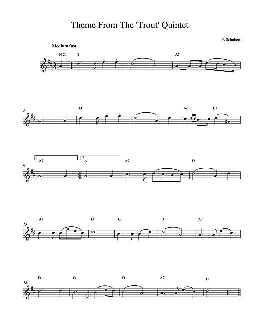 Theme From The Trout Quintet (Die Forelle) sheet music