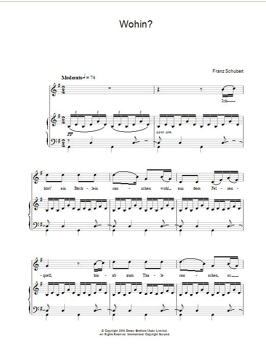 Wohin sheet music