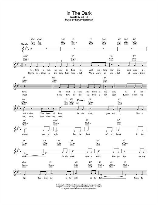 In The Dark sheet music