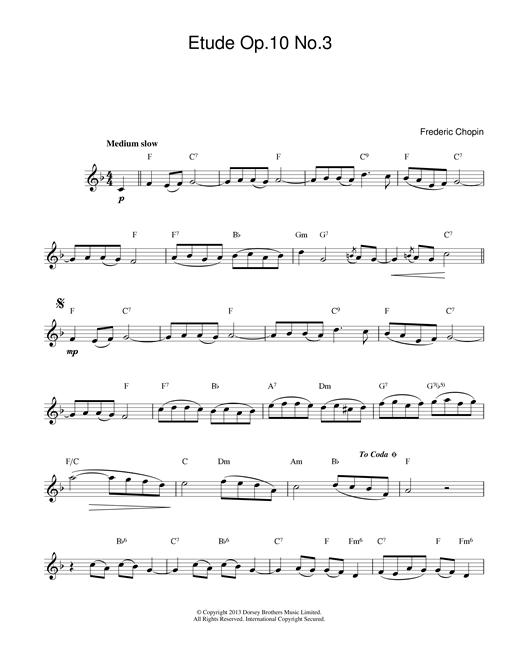 Etude in E Major, Op.10, No.3 (Tristesse) sheet music