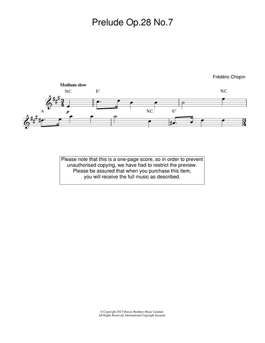 Prelude in A Major, Op.28, No.7 sheet music