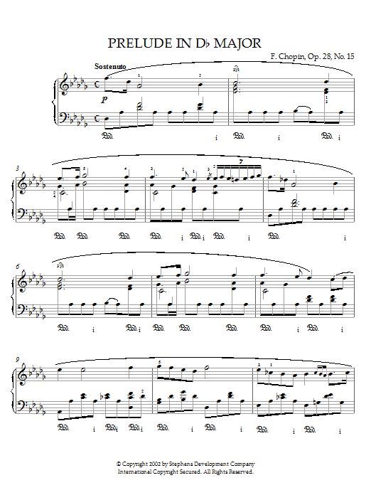 Prelude In Db Major, Op. 28, No. 15 (Raindrop) sheet music