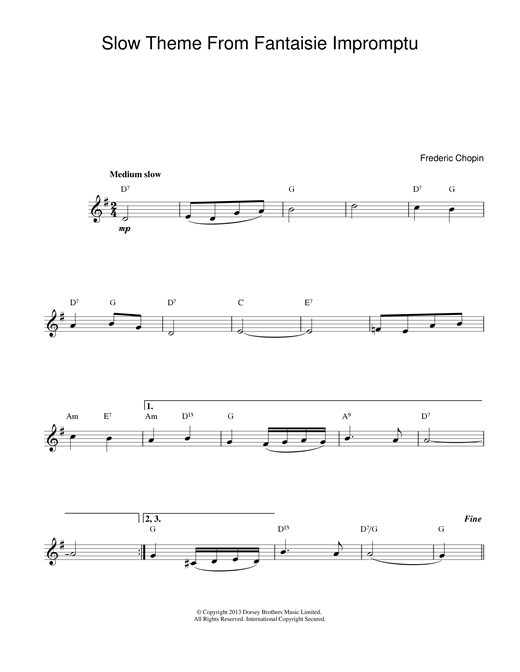 Slow Theme from Fantaisie Impromptu sheet music