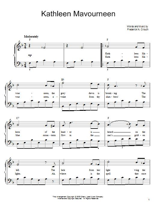 Kathleen Mavoureen sheet music