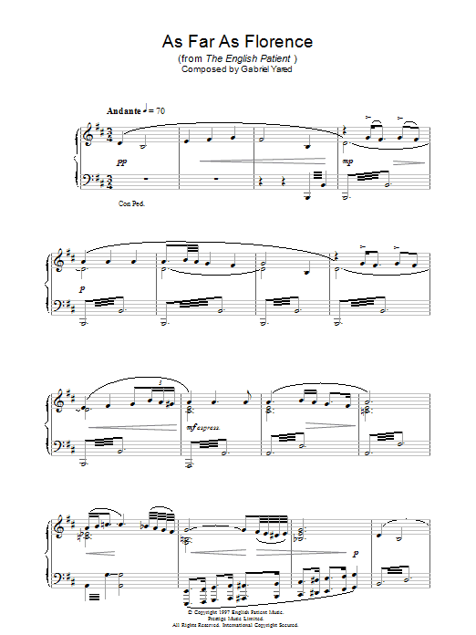 As Far As Florence (from The English Patient) sheet music