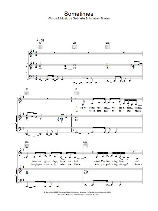 Sometimes sheet music
