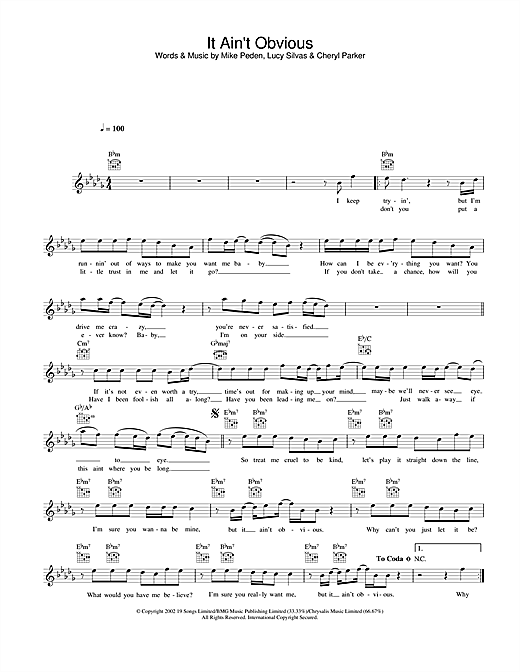 It Ain't Obvious sheet music