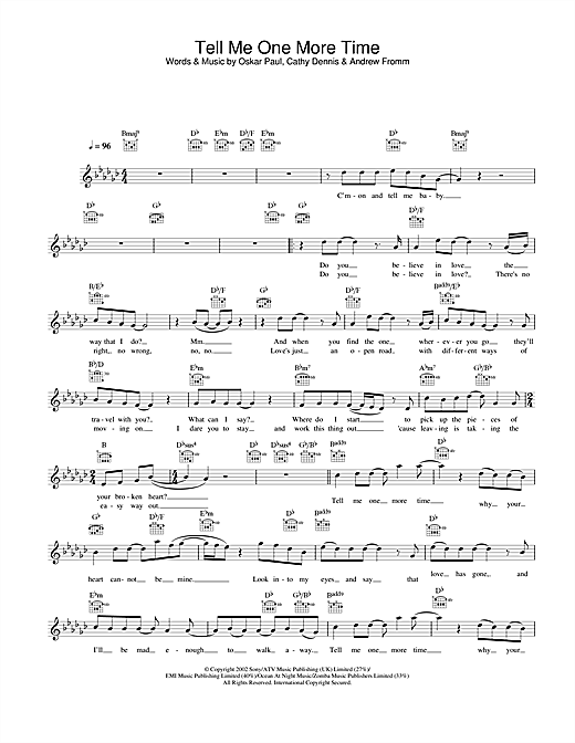 Tell Me One More Time sheet music