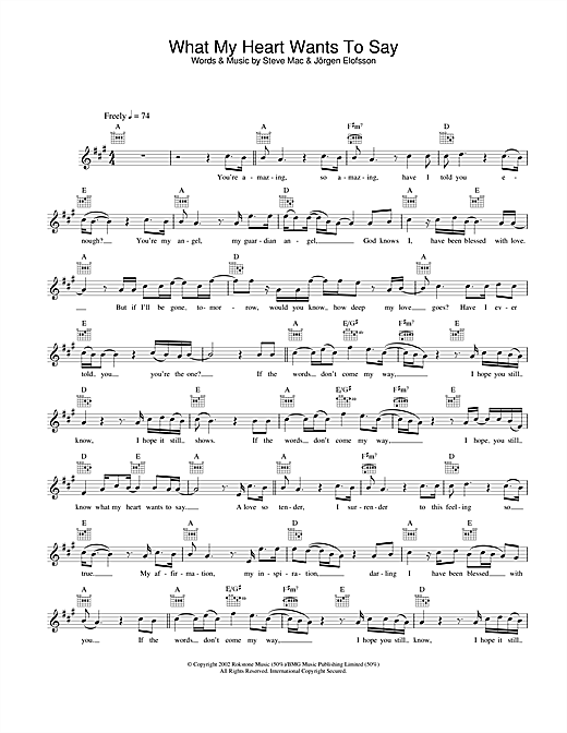 What My Heart Wants To Say sheet music