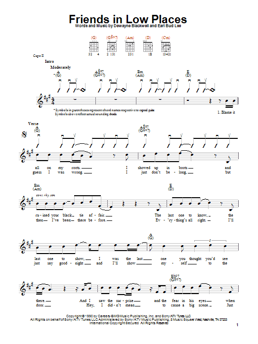 Friends In Low Places sheet music