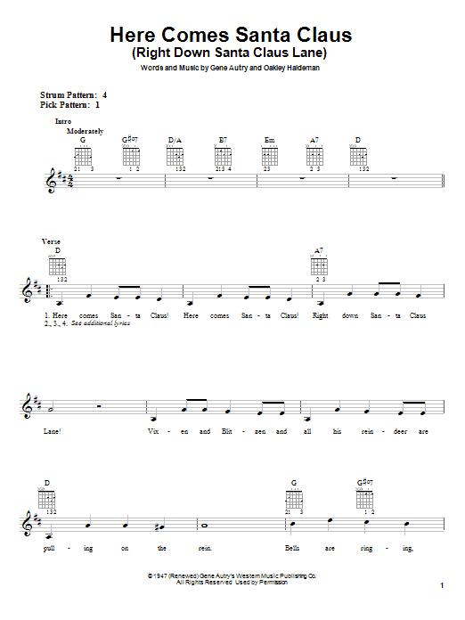Here Comes Santa Claus (Right Down Santa Claus Lane) sheet music