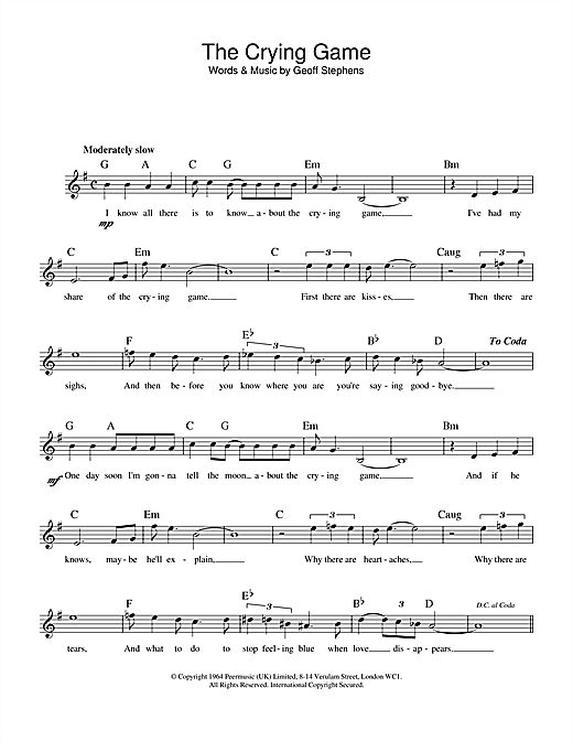 The Crying Game sheet music