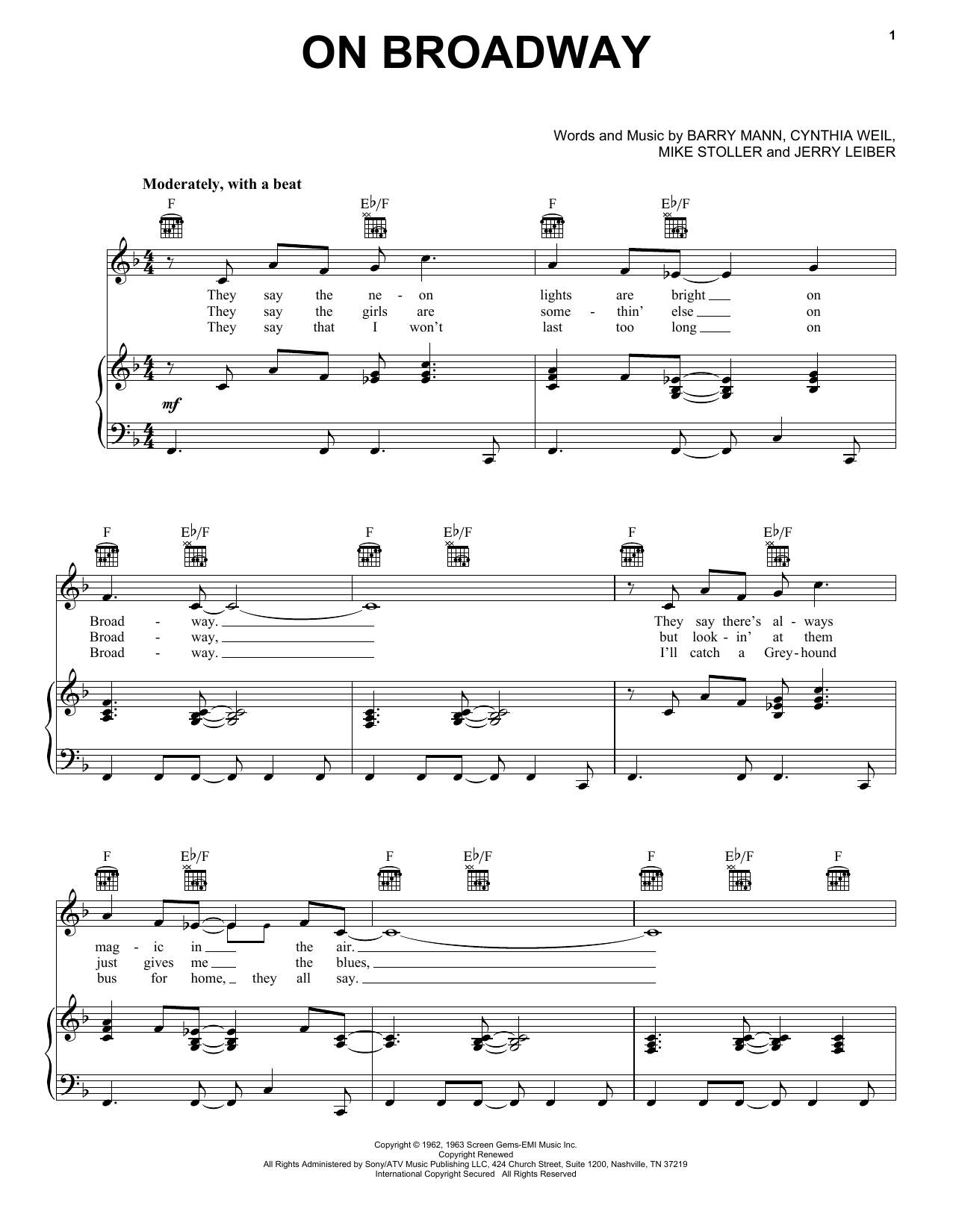 On Broadway sheet music