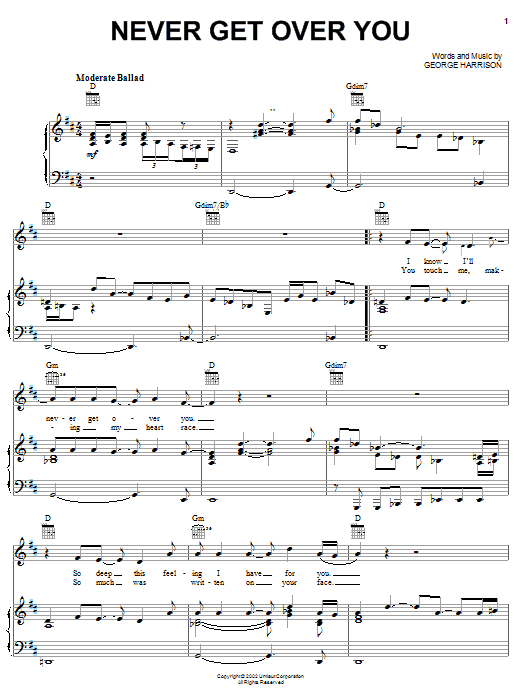 Never Get Over You sheet music