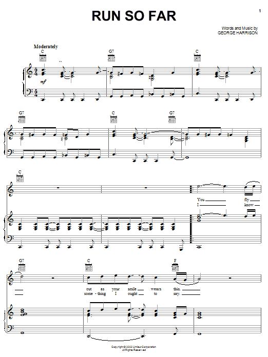 Run So Far sheet music