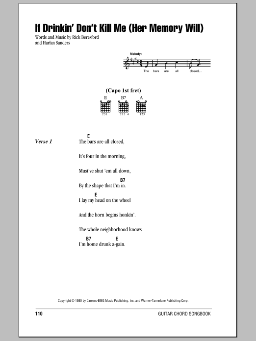 If Drinkin' Don't Kill Me (Her Memory Will) sheet music