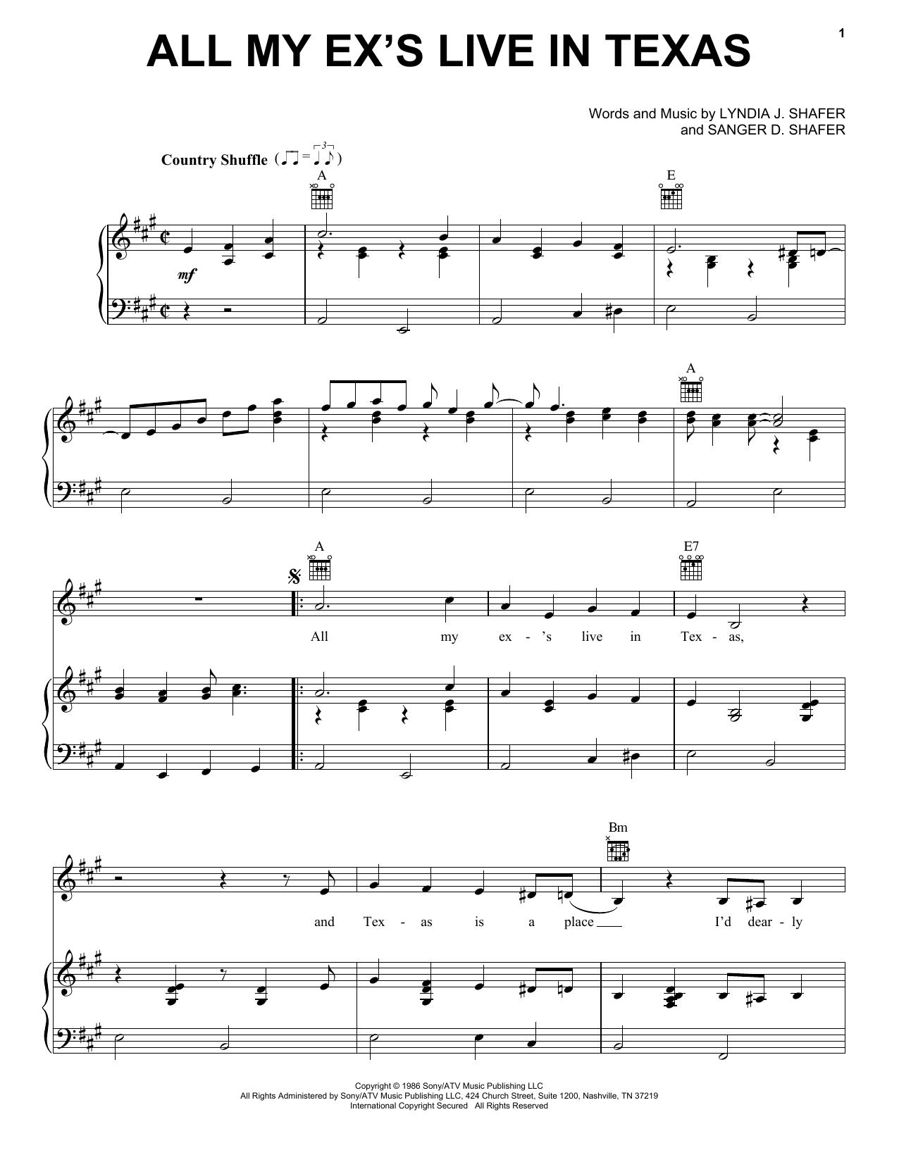 All My Ex's Live In Texas sheet music