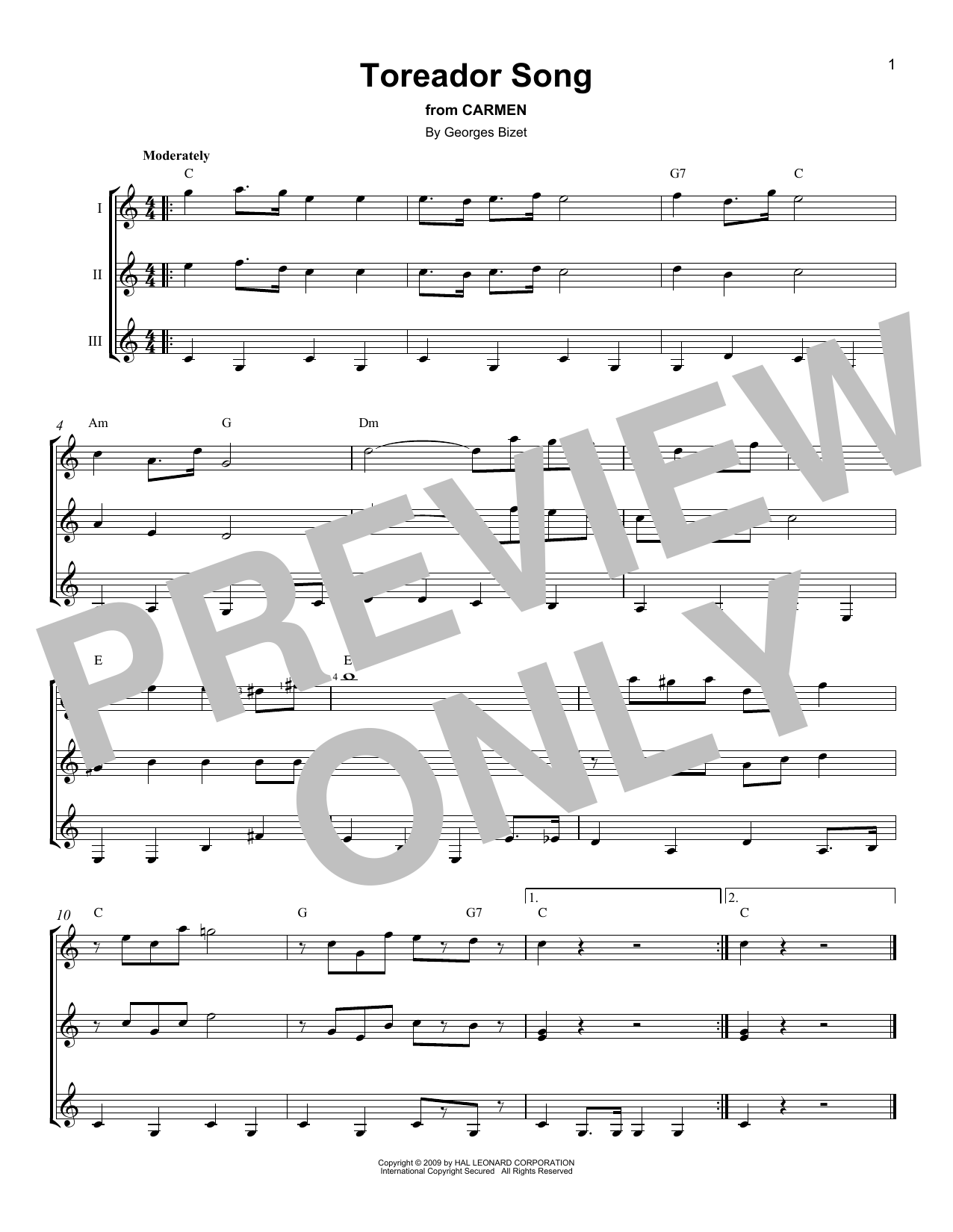 Toreador's Song (from Carmen) sheet music