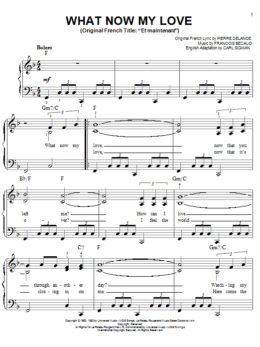 What Now My Love sheet music