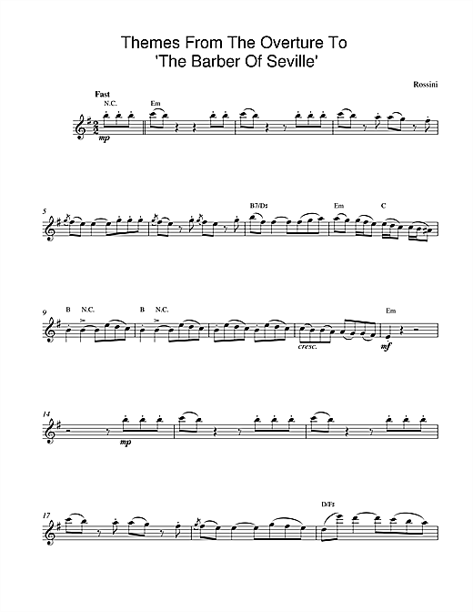 The Barber Of Seville Overture sheet music