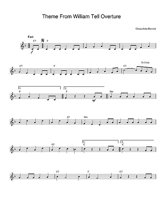 William Tell Overture sheet music