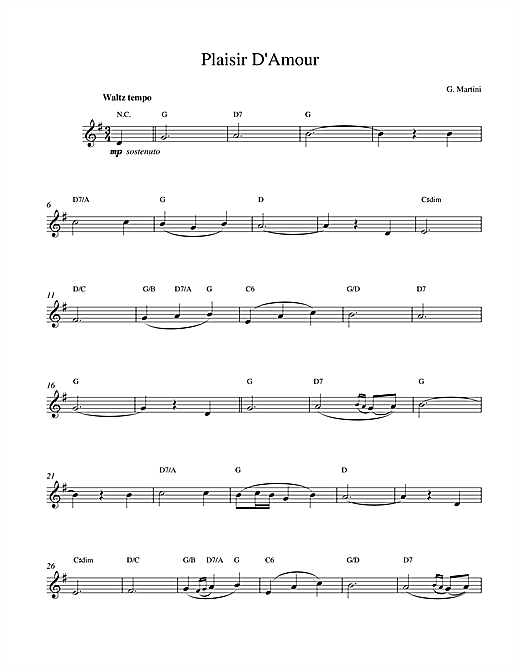 Plaisir d'Amour sheet music
