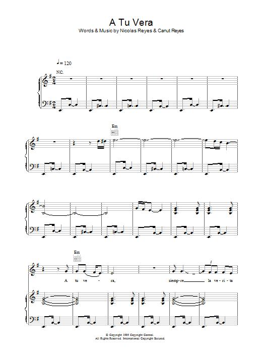A Tu Vera sheet music