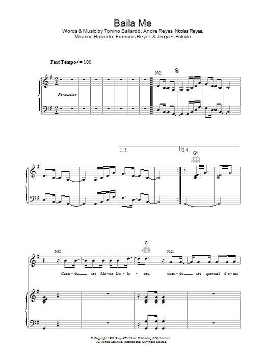 Baila Me sheet music