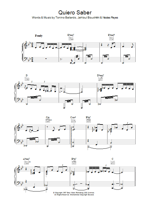 Quiero Saber sheet music