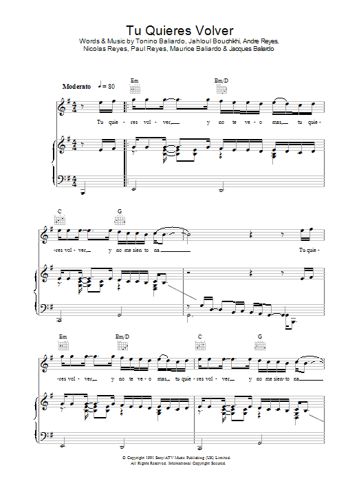 Tu Quieres Volver sheet music