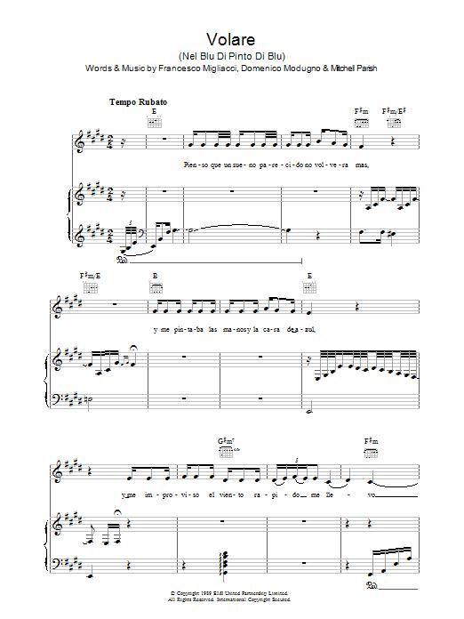 Volare (Nel Blu Dipinto Di Blu) sheet music
