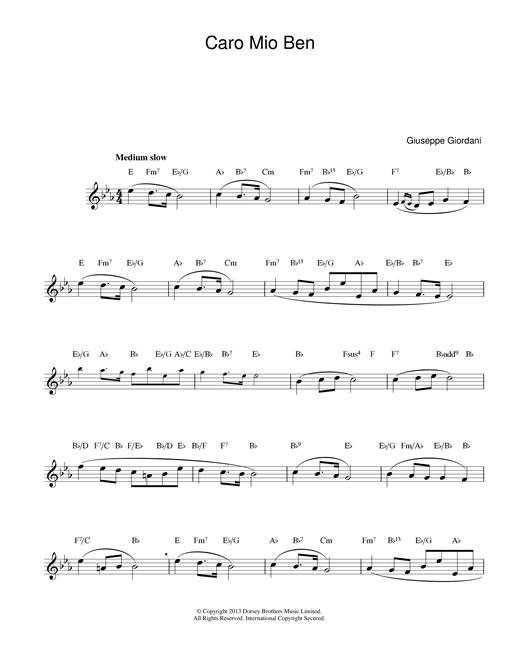 Caro Mio Ben sheet music