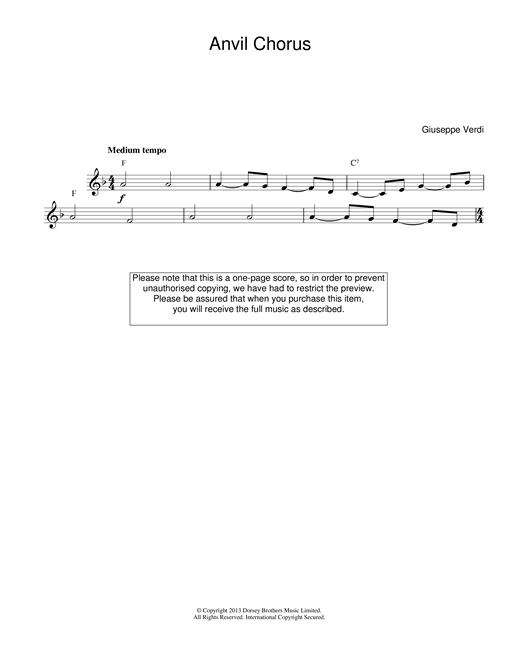Anvil Chorus (from Il Trovatore) sheet music