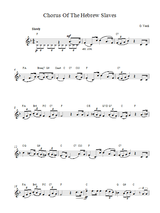 Chorus Hebrew Slaves sheet music