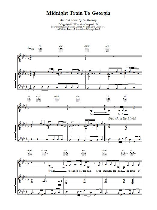 Midnight Train to Georgia sheet music