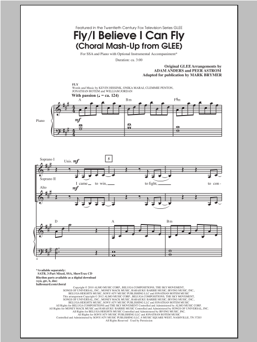 Fly / I Believe I Can Fly (Choral Mash-up from Glee) (ed. Mark Brymer) sheet music