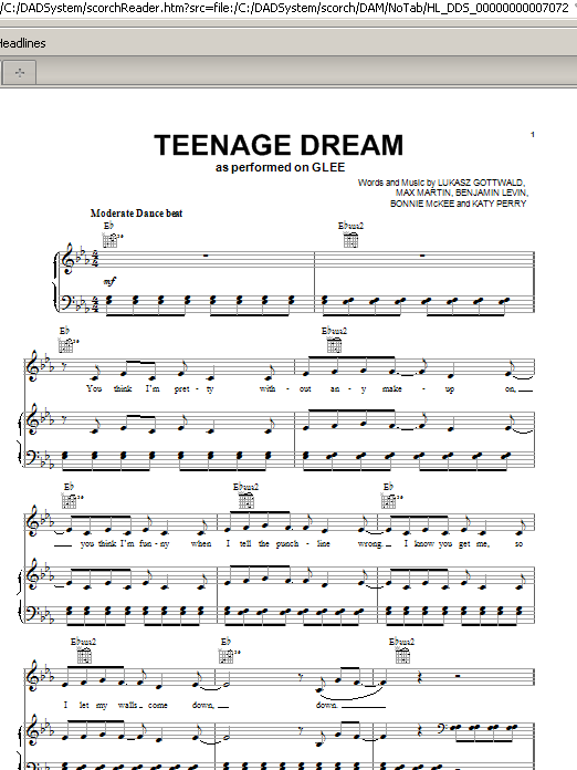 Teenage Dream sheet music