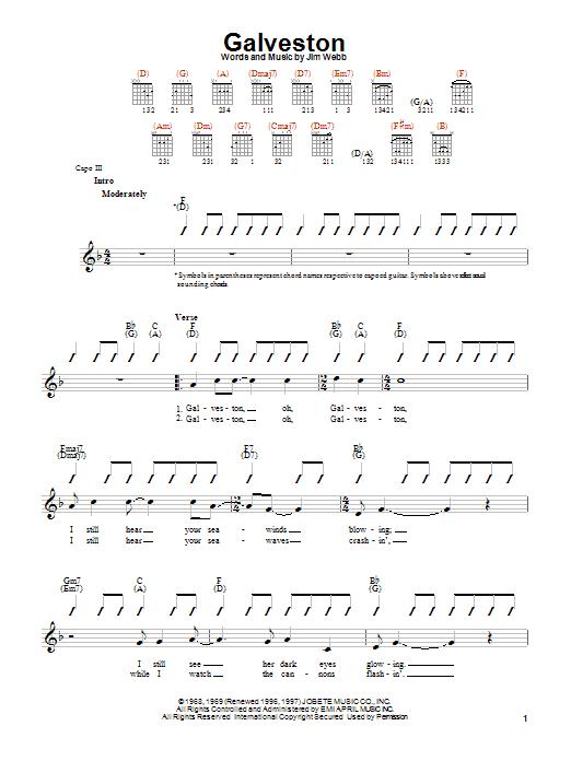 Galveston sheet music