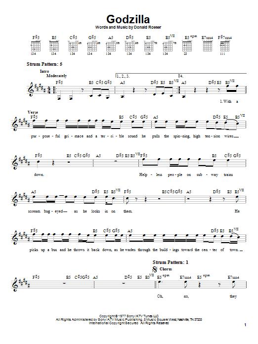 Godzilla sheet music
