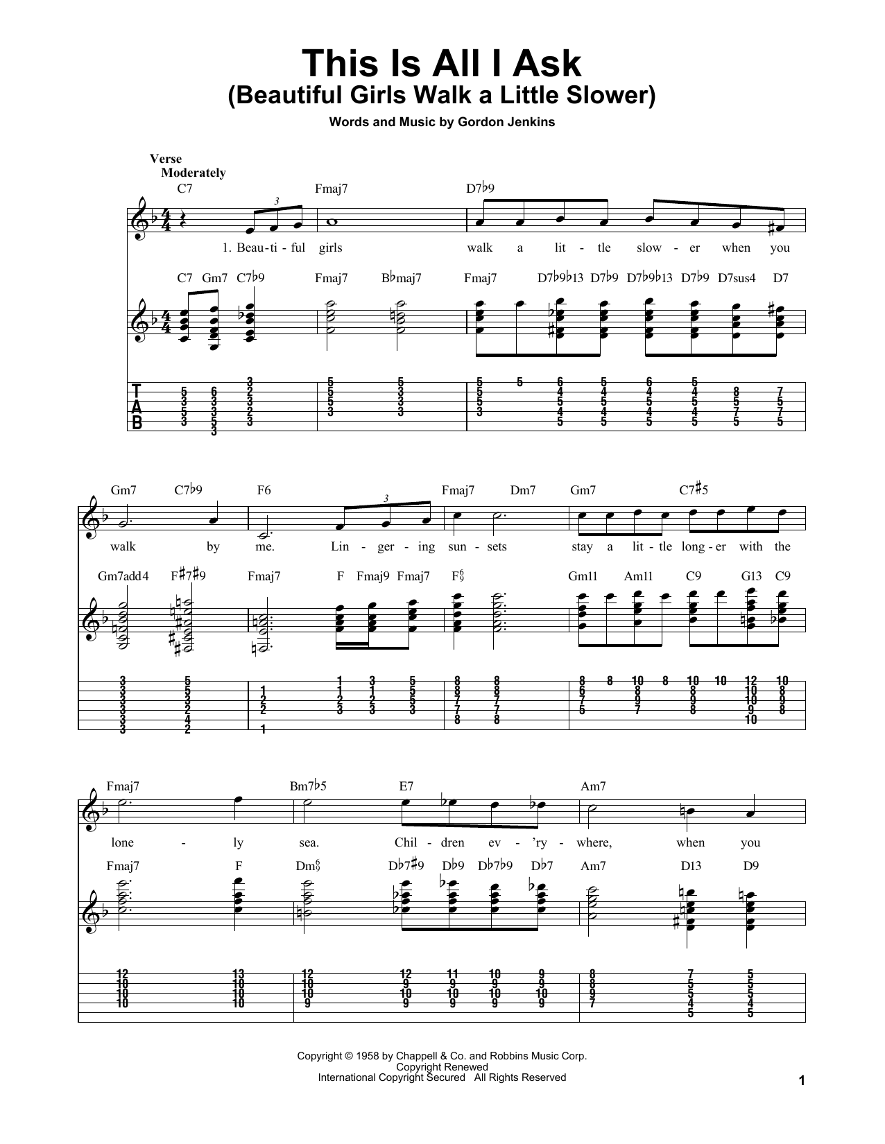 This Is All I Ask (Beautiful Girls Walk A Little Slower) sheet music