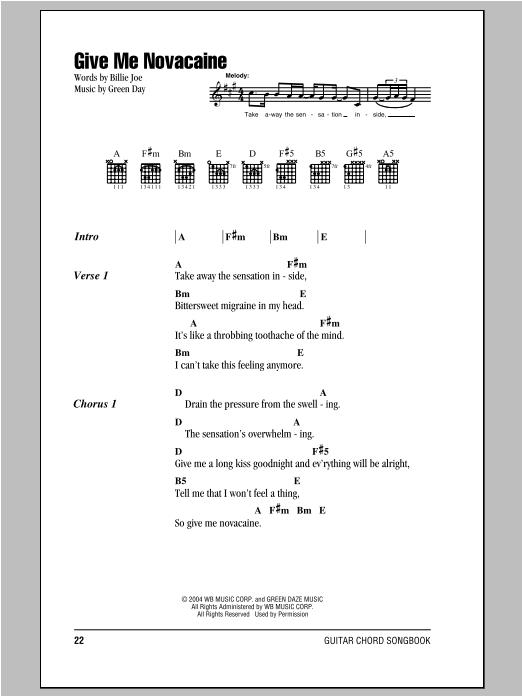 Give Me Novacaine sheet music