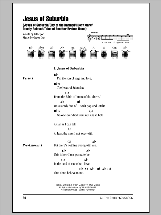 Jesus Of Suburbia: Jesus Of Suburbia/City Of The Damned/I Don't Care/Dearly Beloved/Tales Of Another sheet music