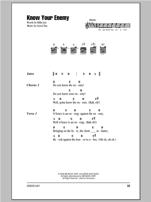 Know Your Enemy sheet music