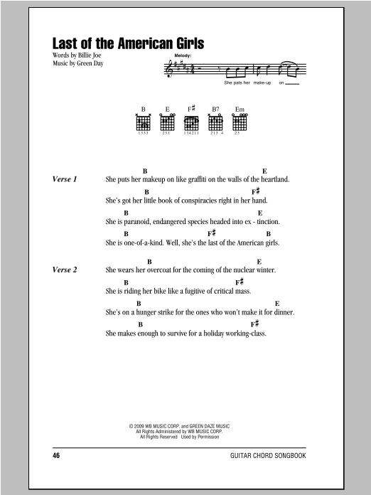 Last Of The American Girls sheet music
